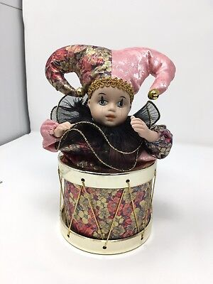 Moving Clown Music Box Sitting Inside Floral Drum