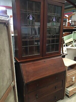 Art Nouveau Vintage Old Antique Bureau Bookcase Display Cabinet Mahogany  9/9/A