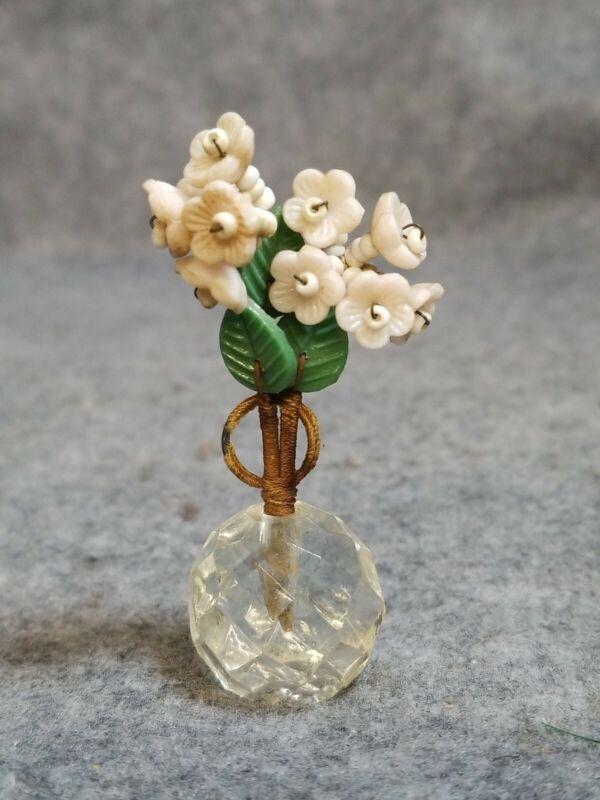 Vintage Glass Flowers Card Holder