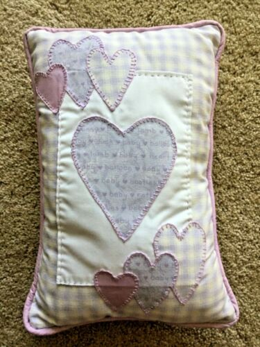NEW HANDMADE LAVENDER BABY NURSERY PILLOW PURPLE HEARTS DECOR DECORATIVE GIFT!