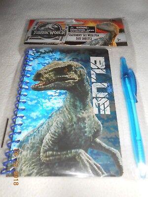 New Jurassic World stationery note book set w/ pen kids for Easter Basket Gift ()