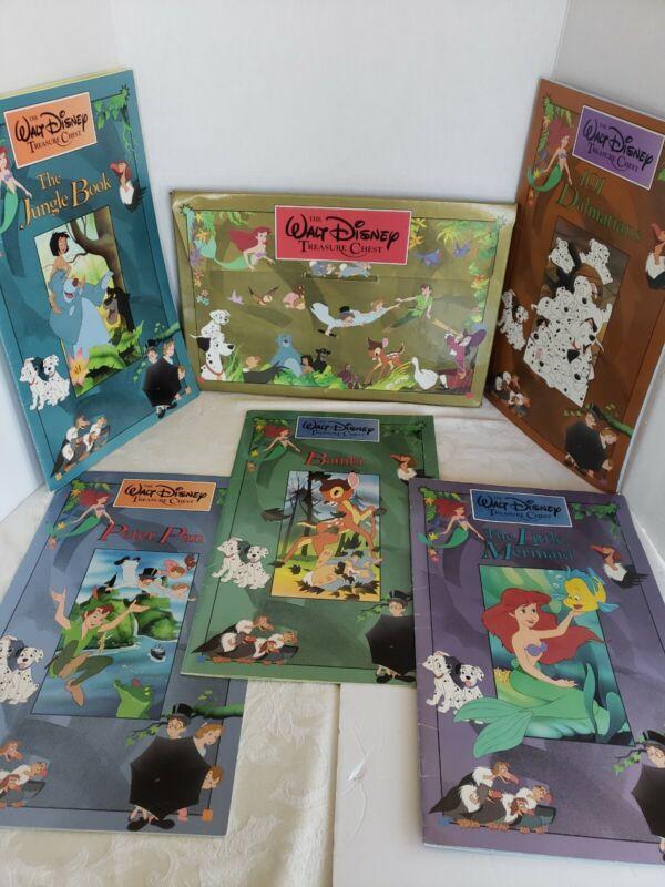 Walt Disney~1991~Treasure Chest~5 Over Sized Books~Inside Cardboard Chest Folder