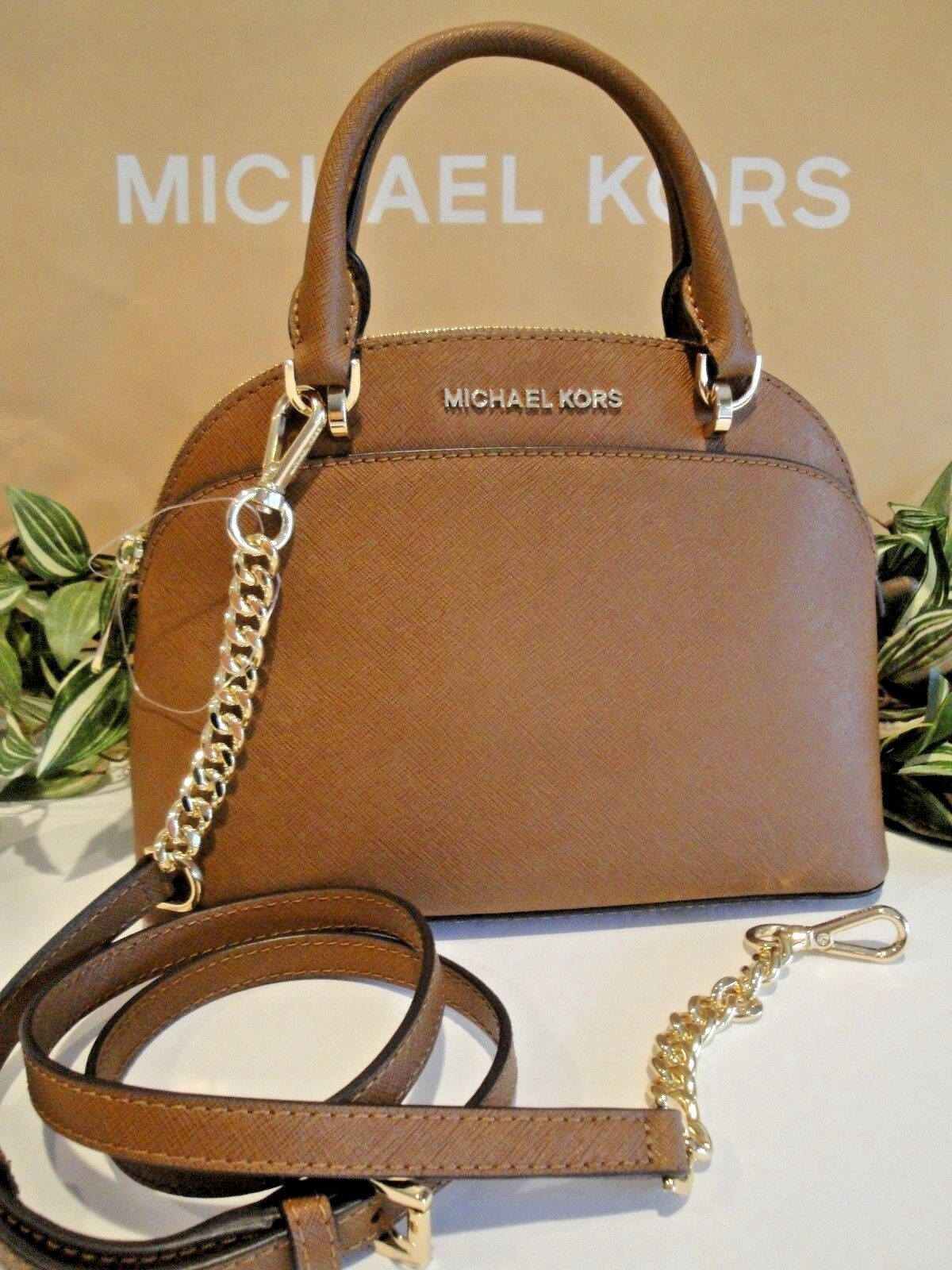 7d67aefbe3 MICHAEL KORS EMMY SMALL DOME SATCHEL CROSSBODY MK BAG LEATHER BROWN LUGGAGE  298