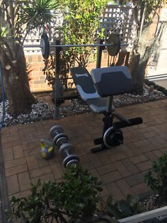 Complete home gym set like new trendy over 80 kg total Can Deliver