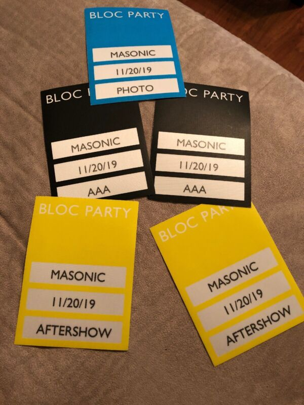 Bloc Party VIP Pass 2019 Tour Masonic San Francisco