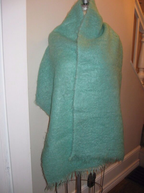 Mohair Scarf / Shawl Solid Mint Green 100% Lambswool True Vtg 1947-63 72 x 19
