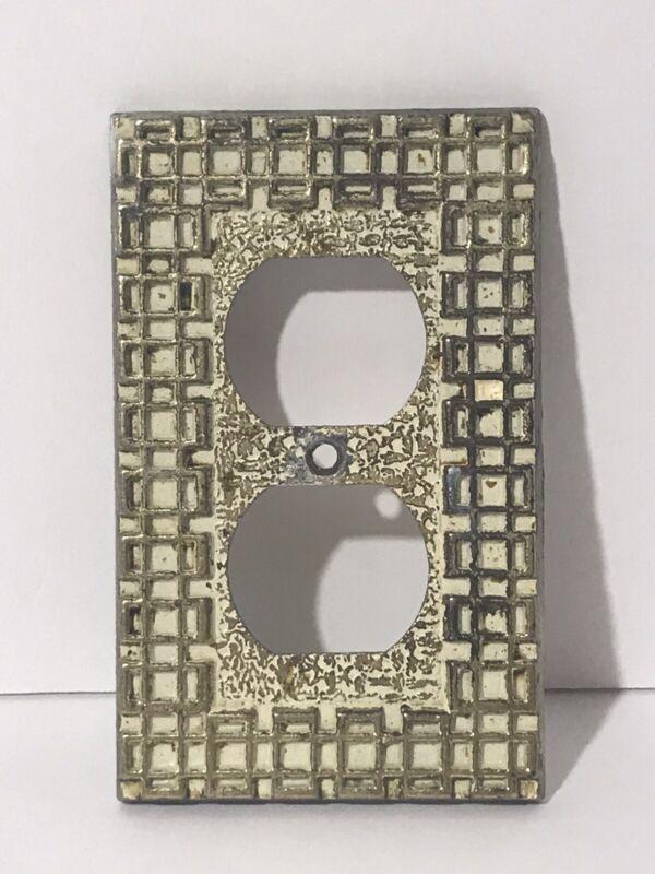 Vintage Brass Geometric Design Retro Plug  Wall Plate