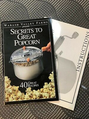 Aluminum Stove-Top Popcorn Popper Instruction Book and Recipes Booklet Popcorn Recipe Book