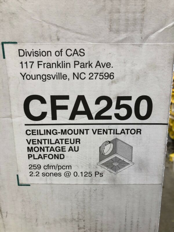 Captiveaire CFA250 Commercial Kitchen Ventilator Fan New Open Box
