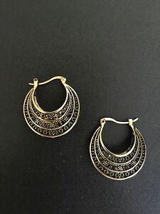 Earrings Hoop Antique Gold Moroccan Ethnic Boho Tribal Big Bohemian Kuchi