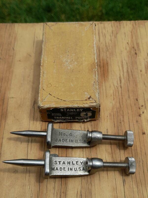 Vintage STANLEY Trammel Points #4  One Pair in Original Box  No. 4