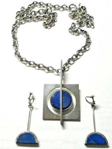 Arne Johansen Denmark Necklace Earrings 925S Sterling Silver Lapis Pendant