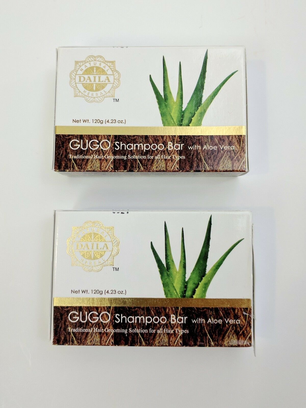 2 Pcs. Daila Natural Herbal GUGO Shampoo Bar with Aloe Vera