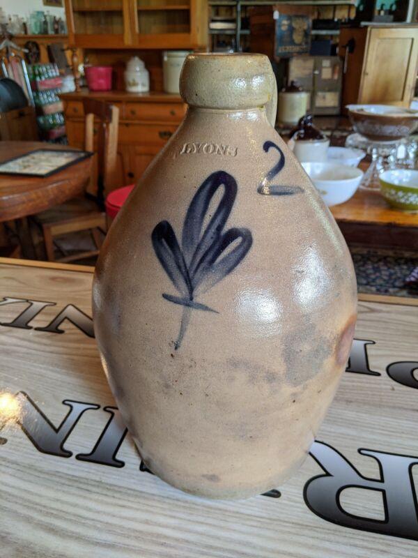 """Antique Early LYONS NY Salt Glaze Stoneware Jug Cobalt Blue 2 Gallon 14.5"""""""