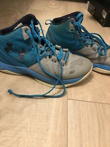 Electric blue Curry 2's boys basketball sneakers