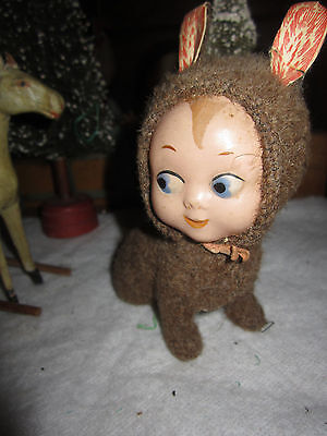 Antique Rare German Mohair Rabbit Candy Container w/Celluloid Face