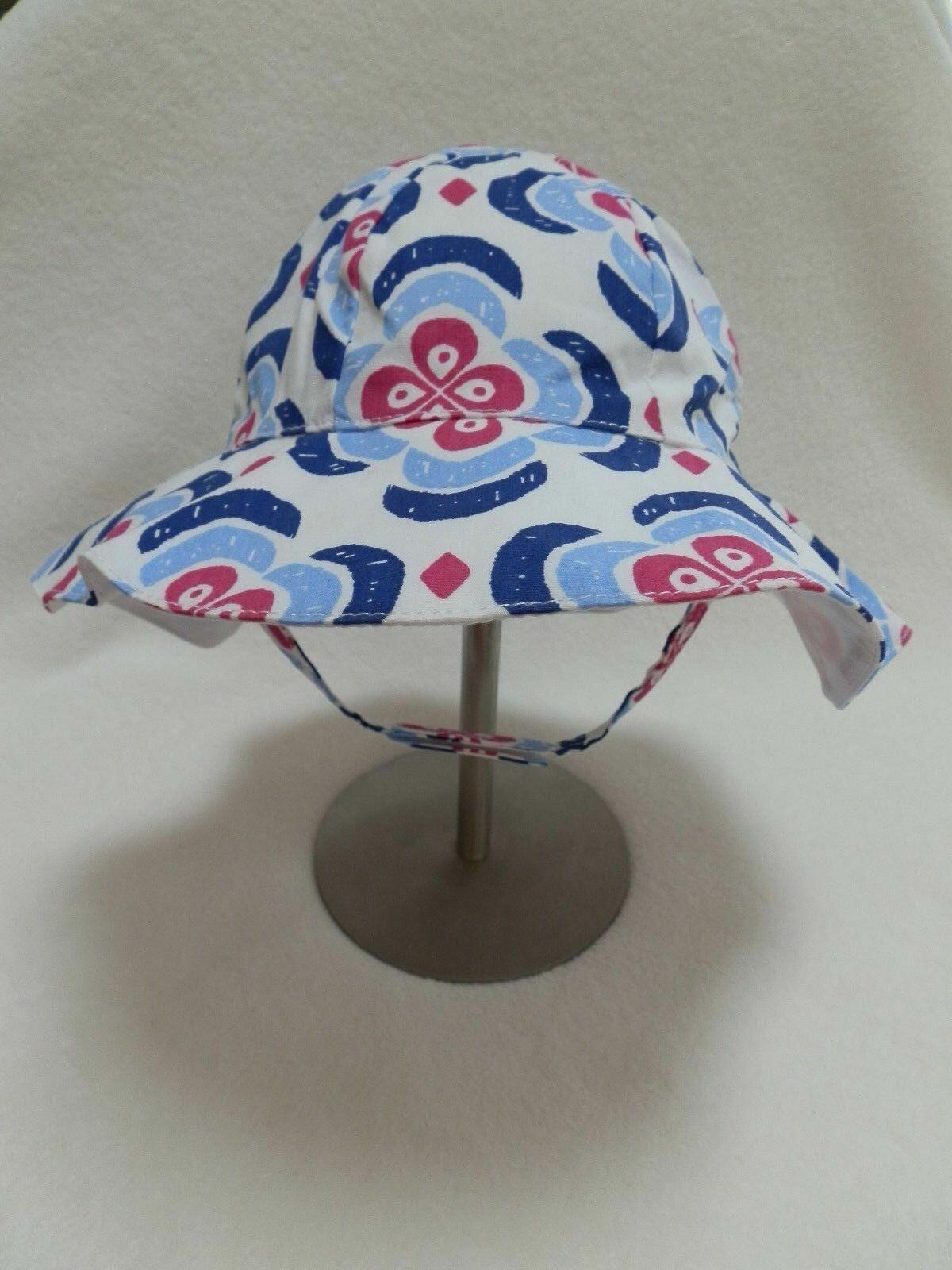 Gymboree Baby Girls Sun Beach Hat 6-12 mo w/ Chin Strap Blue