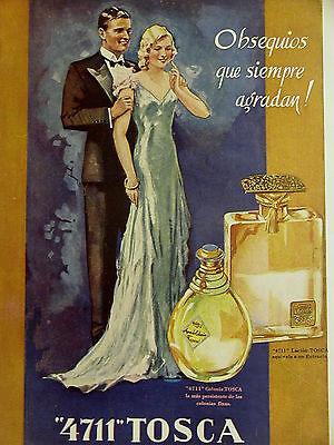 Spanish PERFUME Advertising 4700 LECION TOSCA 1936 ROSALINDA Print Ad Matted