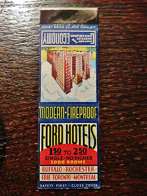 Vintage Matchcover: Ford Hotels, Buffalo, Rochester, NY ON QC PA Jersey Match E