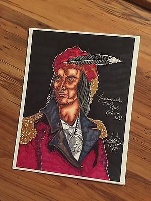 Shawnee War Chief Tecumseh Sketched Portrait PRINT Signed By Artist Tony Keaton