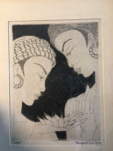 VINTAGE MARGARET ANN GAUG (1909 -1994) CHICAGO ARTIST ART DECO LOTUS ETCHING
