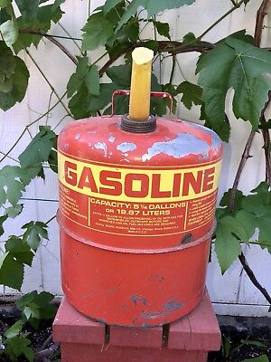 Vintage Red 1977 Sears Craftsman Metal Gas Fuel Can 5 14 Gallons