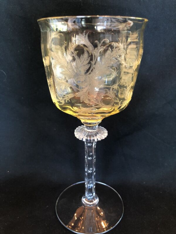 """Vintage Tiffin Franciscan Cadena Amber Yellow Etched Leaves 7.5"""" Wine Glass"""