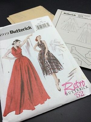 Butterick Pattern B4919 Size AA 6-12  Retro '52 Evening Halter  Flared Day Dress