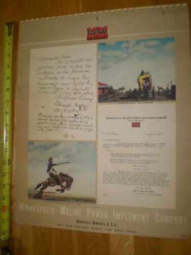 1944 Minneapolis Moline   calendar   (Nice WW II Era)  F. Molina Campos