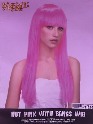 Hot Pink With Bangs Wig by Spirit Women's Halloween Costume Cosplay](Pink Wig Spirit Halloween)