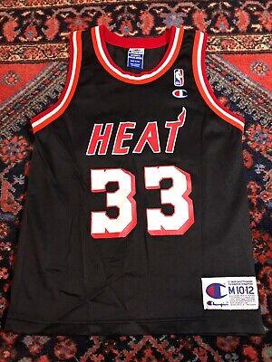 Vintage Alonzo Mourning Miami Heat Black Champion NBA Jersey Youth M 10-12 NBA