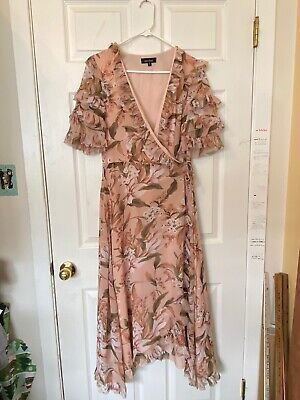 Lea Viola Anthropologie Long Wrap Dress Floral Print Ruffled Sleeve Lined Medium