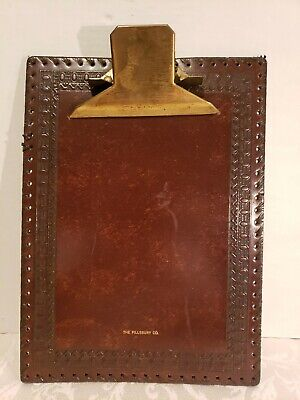 VINTAGE LEATHER CRAFT PILLSBURY ADVERTISING CLIP BOARD LACED AND WOOD GRAINED IT