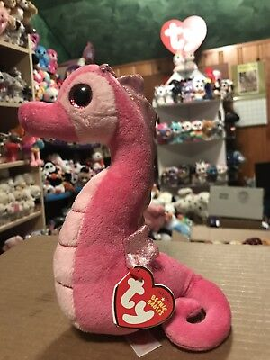 """Ty MAJESTIC -Pink/Sparkly Fabric Seahorse 6"""" Beanie Baby! *Retired* RARE & VHTF!"""