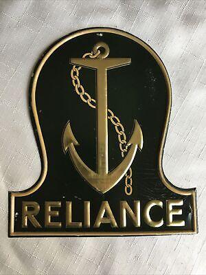 Vintage Reliance Marine Insurance Tin Fire Mark/Plaque