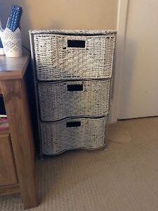 3-drawer wicker chest