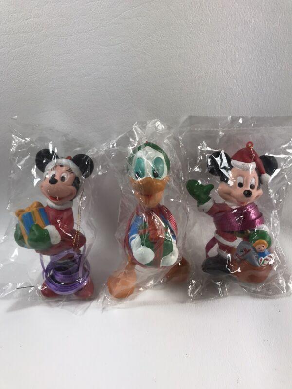 "Lot Of 3 Walt Disney Co Christmas Ornaments Mickey, Minnie, Donald Duck 4"" NIP"