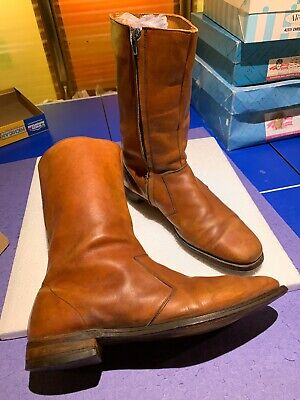 Brown leather Mens Boots With Zipper And Leather Sole Size 13 B