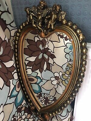 Vintage Rococo Heart Shaped Gold Gilt Plaster Cherubs Wall Hanging Mirror