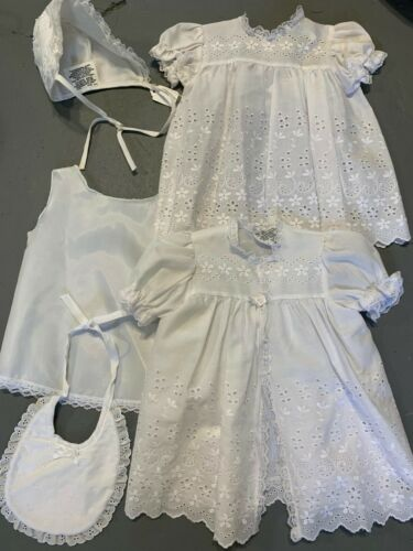 Vtg White Baby Baptism Christening 5 Piece Outfit Dress Gown Bib Hat Girl or Boy