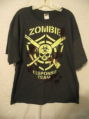 ZOMBIE RESPONSE TEAM Glow In The Dark T-shirt Gray Men's 2XL - Ghoulish Indeed!