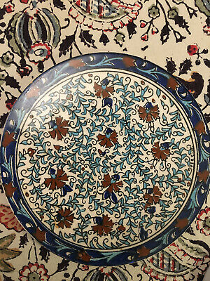 Vintage Circular Ceramic Patterned Tile. Blues & Browns. 6.5