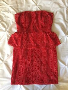 Red Strapless Peplum Dress