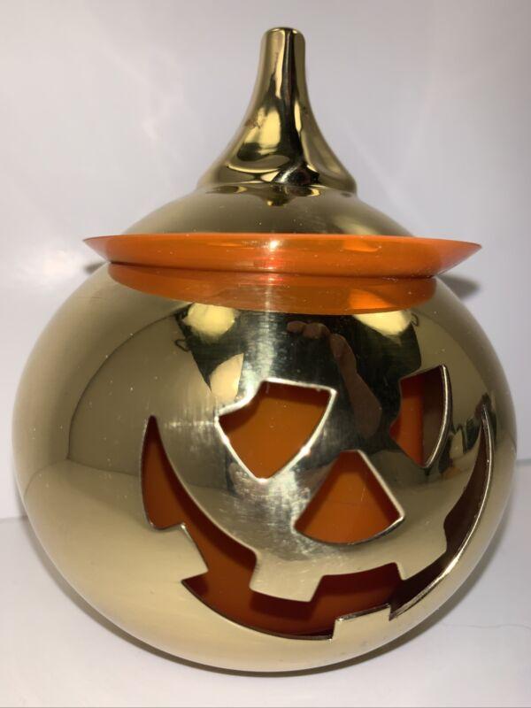 Jack-O-Lantern PartyLite -Solid Brass- Votive Holder Plymouth Ma. USA Item#P7180