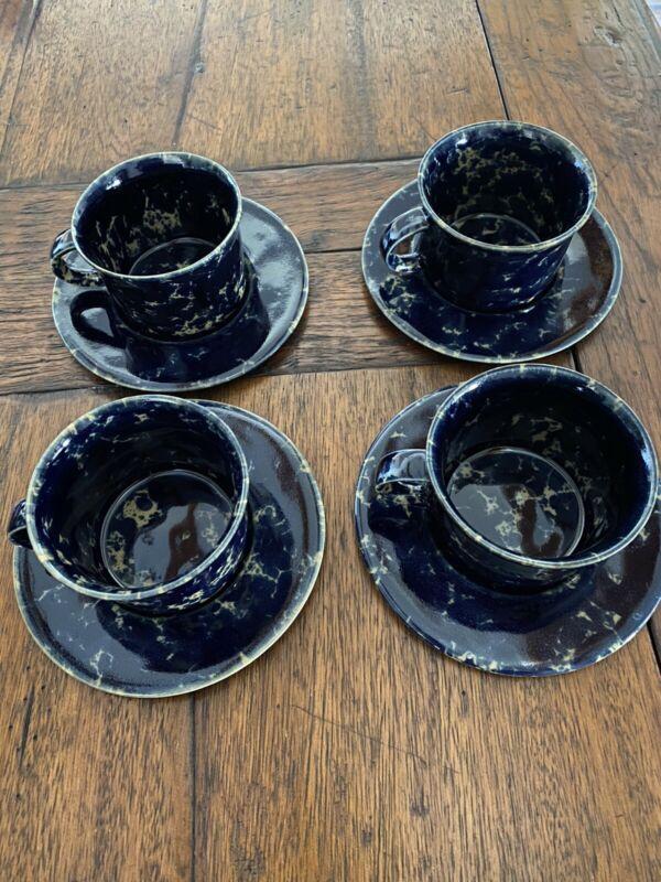 Bennington Potters Blue Agate Set Of 4 Cups/saucers Vermont Coffee Mugs