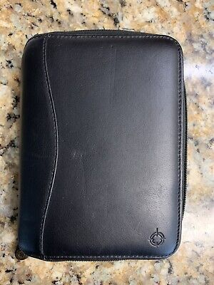 Franklin Covey Black Nappa Leather Compact Binder Planner 6 Ring 7.5x5.5