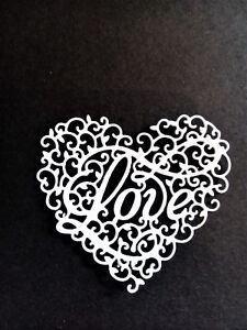 8 x Intricate Love hearts, card toppers, paper craft, die cut, wedding, birthday