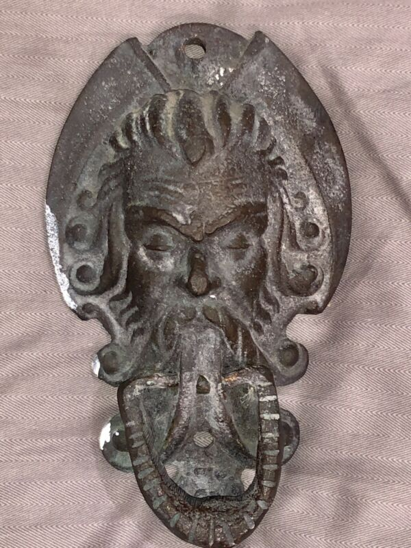 ANTIQUE LARGE VICTORIAN GARGOYLE DEVIL GYPSY ARCHITECTURAL SALVAGE DOOR KNOCKER
