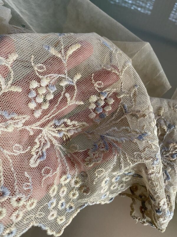 1920 VINTAGE MACHINE EMBROIDERED DRESS FLOUNCE IN PALE PASTEL BLUE