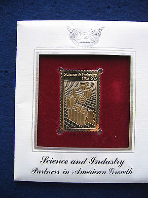 Science Industry Partners In American Growth Gold Golden Cover Stamp Replica